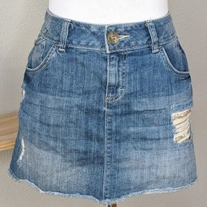 Elle distressed denim jean mini skirt